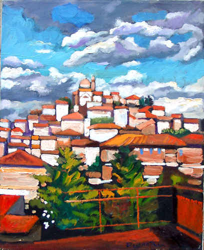 Art work by Luigi Pignataro La città dal balcone - oil canvas