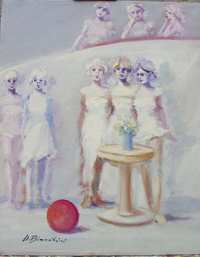 Art work by Umberto Bianchini Chi avrà la palla - oil canvas