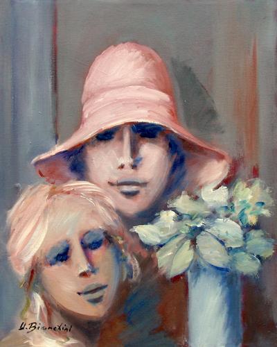 Quadro di Umberto Bianchini Ragazze e fiore - olio tela