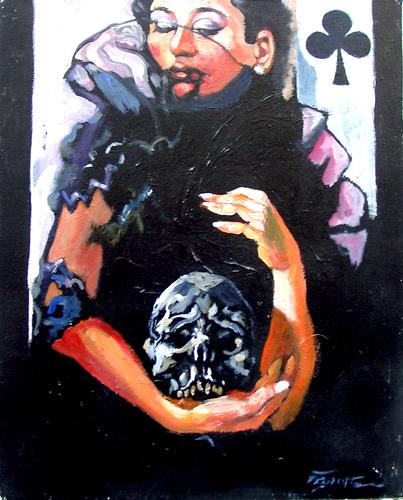 Quadro di Luigi Pignataro Donna con teschio - olio tela