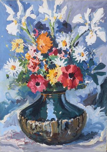 Quadro di michele ortino vaso con fiori for Vasi di fiori dipinti