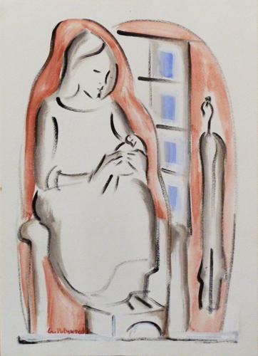 Quadro di Giorgio Polykratis Figura - acquerello carta
