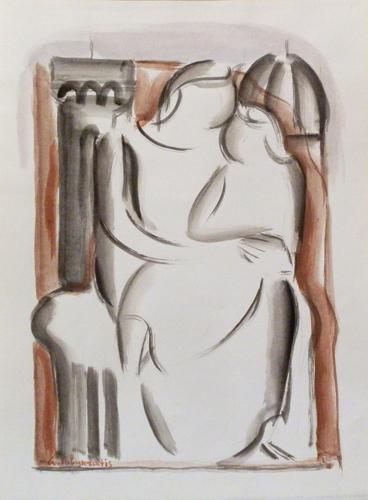 Art work by Giorgio Polykratis Maternità - watercolor paper