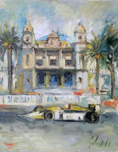 Quadro di Emanuele Cappello Gran Premio di Montecarlo - olio tela