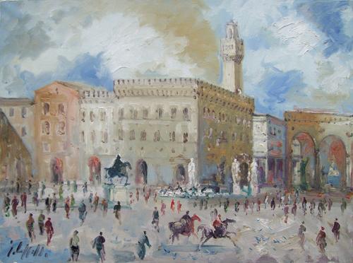 Quadro di Emanuele Cappello Piazza Signoria - olio tela