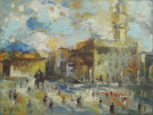 Art work by Emanuele Cappello Firenze, Piazza Signoria - oil canvas