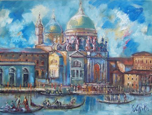 Quadro di Emanuele Cappello Basilica di Santa Maria della Salute a Venezia - olio tela