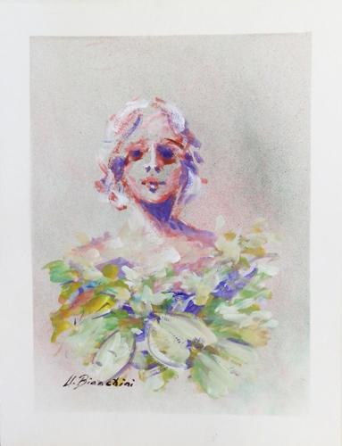 Art work by Umberto Bianchini Volto e fiori - varnish paper