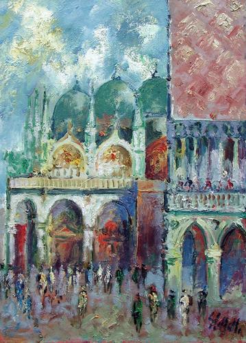 Quadro di Emanuele Cappello Basilica di San Marco a Venezia - olio tela