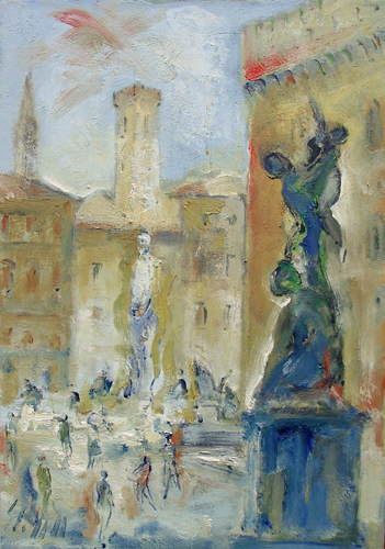 Art work by Emanuele Cappello Piazza Signoria a Firenze - oil canvas