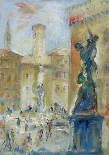 Quadro di Emanuele Cappello Piazza Signoria a Firenze - olio tela