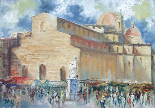 Quadro di Emanuele Cappello San Lorenzo, Firenze - olio tela