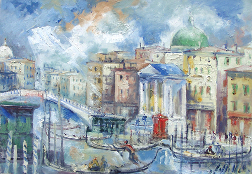 Art work by Emanuele Cappello San Simeon Piccolo sul Canal Grande - oil canvas
