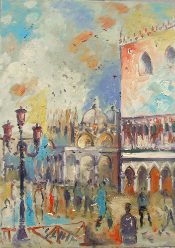 Art work by Emanuele Cappello Piazza San Marco, Venezia - oil canvas