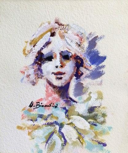 Art work by Umberto Bianchini Volto - varnish paper