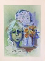 Quadro di Umberto Bianchini  Volto e fiori