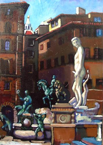 Quadro di Luigi Pignataro Piazza Signoria - olio tela