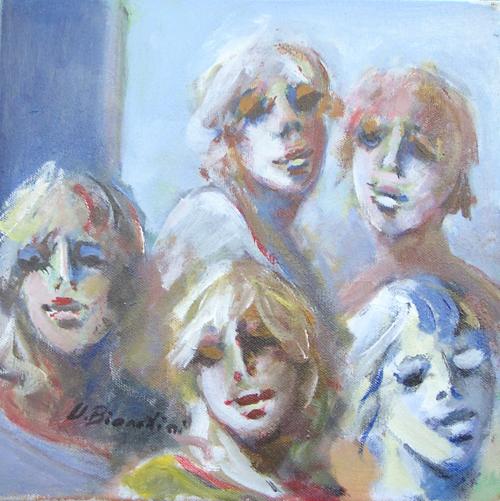 Quadro di Umberto Bianchini Volti - olio tela