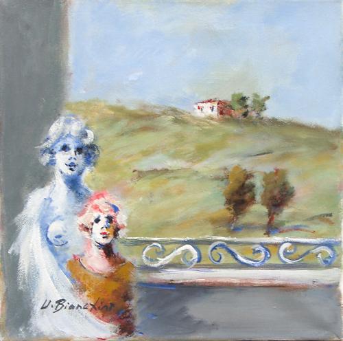 Quadro di Umberto Bianchini Balcone, olio su tela 30 x 30 | FirenzeArt Galleria d'arte