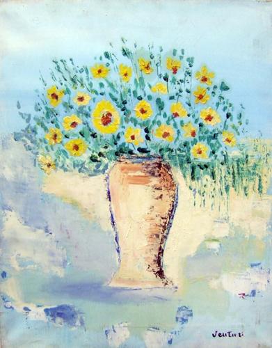 Quadro di Liù Venturi Vaso di fiori - olio tela