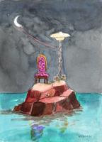 Quadro di Franco Lastraioli  Un faro e una sedia in mezzo al mare