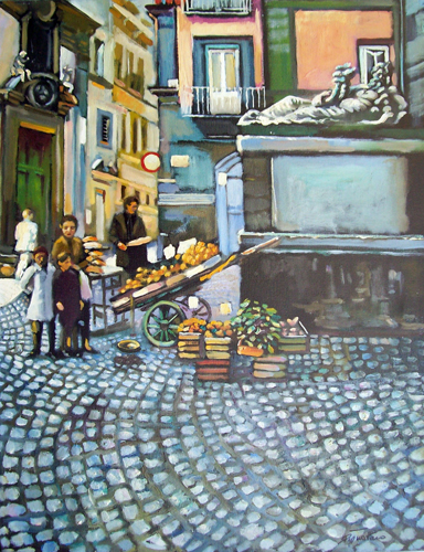 Art work by Luigi Pignataro Scorcio cittadino - oil canvas