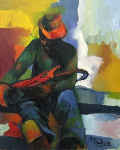 Quadro di Antonio Tamburro Figura con ombrello - olio tela