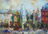 Quadro di Emanuele Cappello  Paesaggio parigino