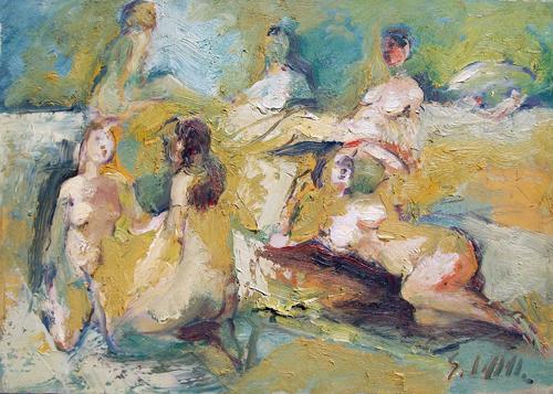 Quadro di Emanuele Cappello Bagnanti - olio tela