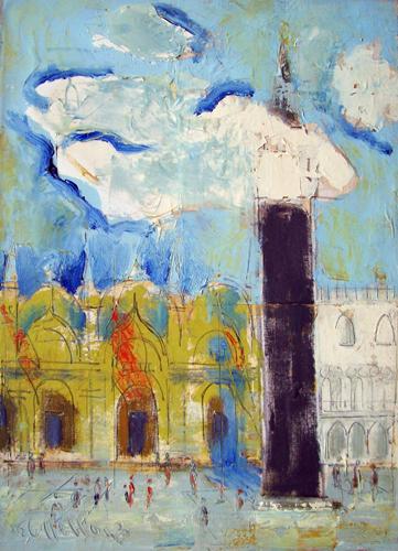 Quadro di Emanuele Cappello San Marco a Venezia - olio tela