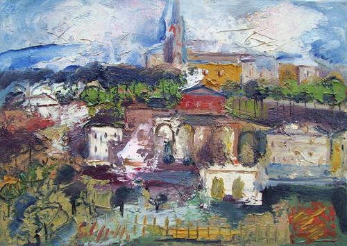 Quadro di Emanuele Cappello Città - olio tela