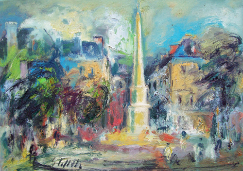 Art work by Emanuele Cappello Piazza cittadina - oil canvas