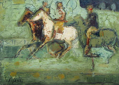 Quadro di Emanuele Cappello Corsa di cavalli - olio tela