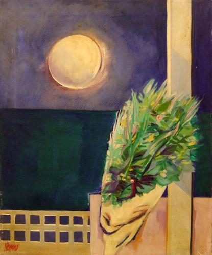 Quadro di Natale Filannino Paesaggio e fiori - olio tela