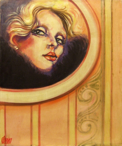 Quadro di Natale Filannino Volto allo specchio - olio tela