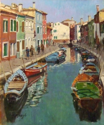 Art work by Graziano Marsili Canale a Burano - oil canvas