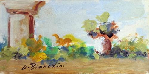 Quadro di Umberto Bianchini Balcone, tempera su tavola 10 x 20 | FirenzeArt Galleria d'arte
