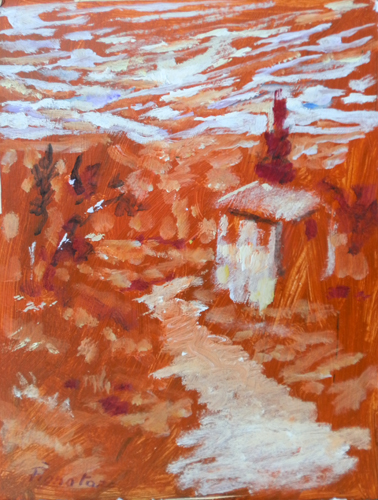 Quadro di Luigi Pignataro Paesaggio rosso - acrilico cartone