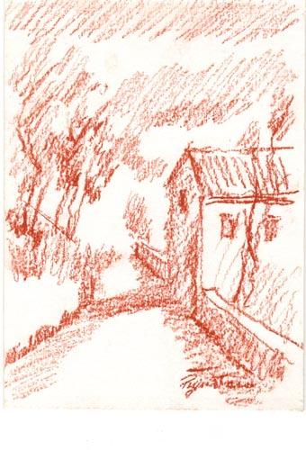 Quadro di Luigi Pignataro Paesaggio - sanguigna cartone