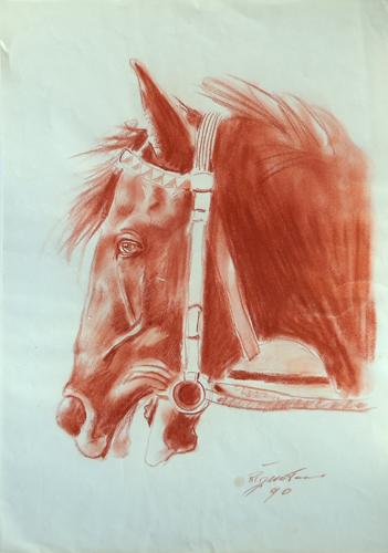 Art work by Luigi Pignataro Studio per la testa di cavallo - blood paper
