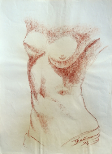 Art work by Luigi Pignataro Nudo - blood paper