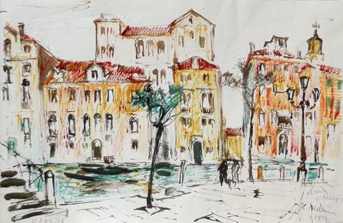 Quadro di Rodolfo Marma Venezia - pennarello carta
