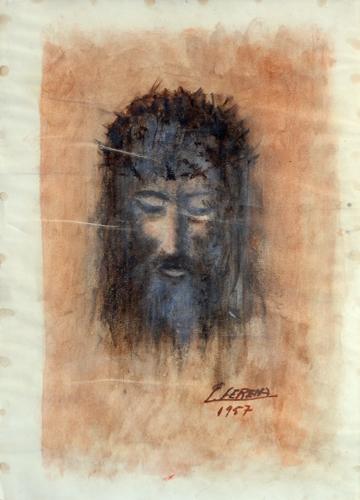 Quadro di Sereno Serena Volto di Gesù Cristo - mista carta