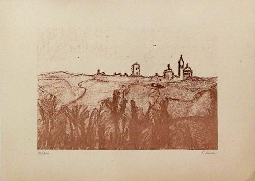 Art work by Giorgio Sacchi Paesaggio Toscano - print paper