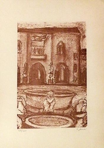 Quadro di Giorgio Sacchi Il cortile - stampa carta