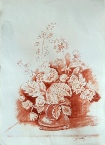Quadro di Luigi Pignataro Vaso di fiori - sanguigna carta