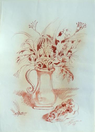 Quadro di Luigi Pignataro Composizione floreale - sanguigna carta