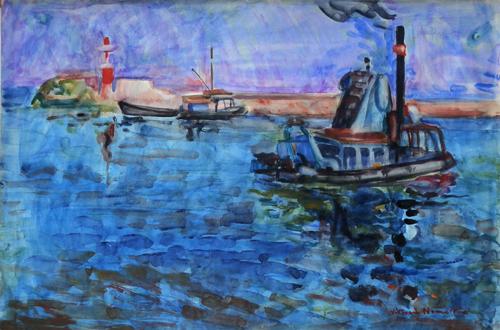 Quadro di Vittorio Nomellini Marina - acquerello carta