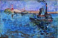 Quadro di Vittorio Nomellini - Marina acquerello carta