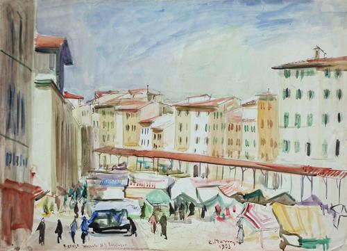 Quadro di Rodolfo Marma Mercato di S. Lorenzo - acquerello carta
